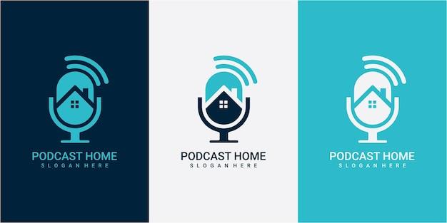 Inspiração de design de logotipo de podcast de casa. podcast com conceito moderno de design de logotipo para casa