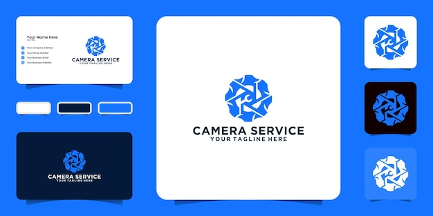 Inspiração de design de logotipo de reparo de câmera e cartão de visita