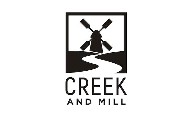 Inspiração de design de logotipo de riacho e moinho