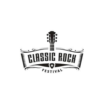 Inspiração de design de logotipo de rock clássico guitarra emblema