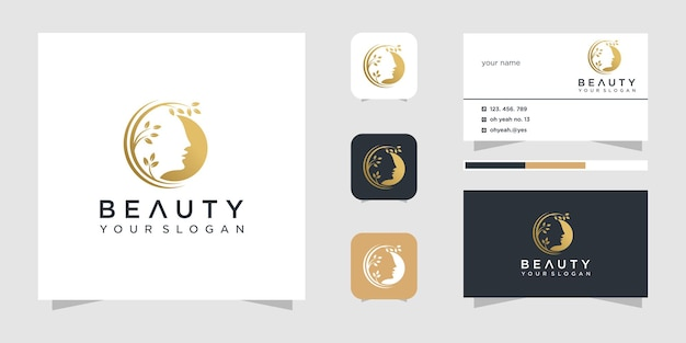 Inspiração de design de logotipo de rosto de beleza e cartão de visita.