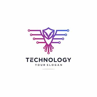 Inspiração de design de logotipo de tecnologia de coruja, gradiente, tecnologia premium