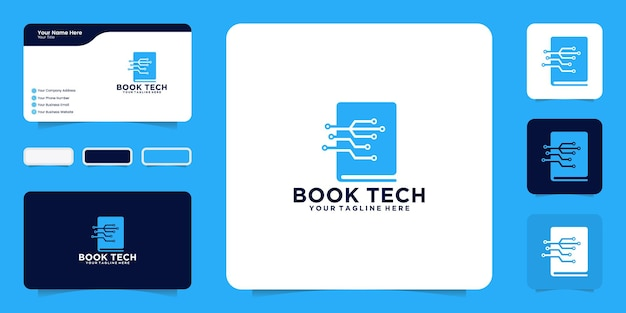 Inspiração de design de logotipo de tecnologia de livro e inspiração de cartão de visita