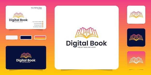 Inspiração de design de logotipo de tecnologia de livro moderno, livro de dados e cartão de visita