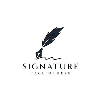 Inspiração de design de logotipo de tinta silhueta pena.