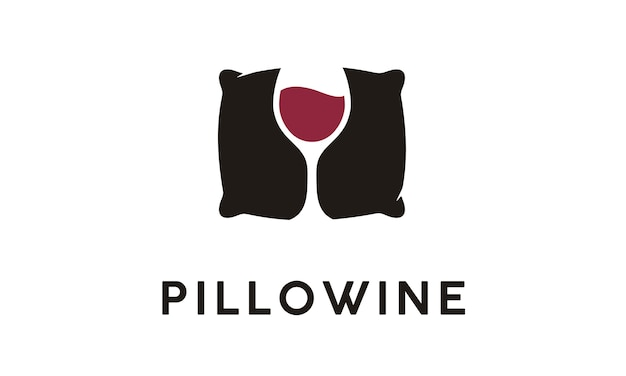 Inspiração de design de logotipo de travesseiro e vinho