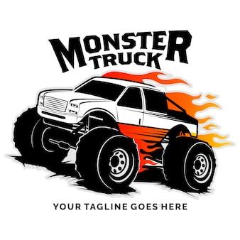 Inspiração de design de logotipo de vetor de caminhão monstro
