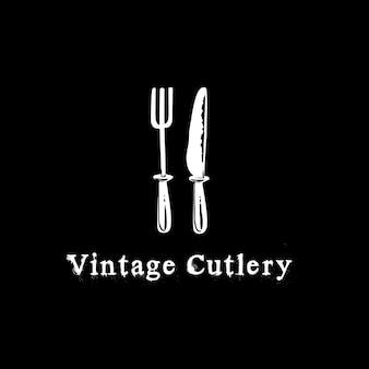 Inspiração de design de logotipo de vetor de ícone de talheres vintage