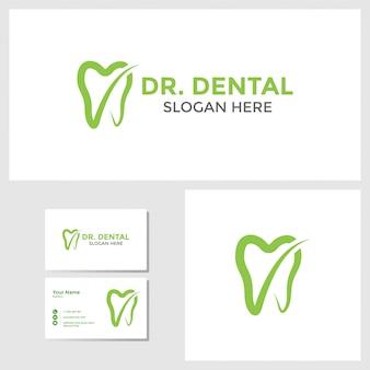 Inspiração de design de logotipo dental com maquete de cartão de visita