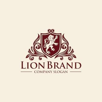 Inspiração de design de logotipo dourado royal lion king de luxo