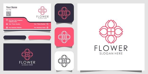 Inspiração de design de logotipo elegante ornamento floral com estilo de arte de linha cosmetics salon and spa