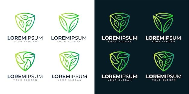 Inspiração de design de logotipo escudo e folha. logotipo da natureza