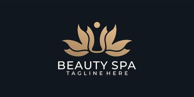 Inspiração de design de logotipo feminino de luxo em spa de beleza e beleza