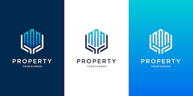 Inspiração de design de logotipo imobiliário de modelo de construção e mãos