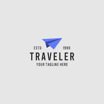 Inspiração de design de logotipo minimalista de viajante