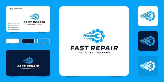Inspiração de design de logotipo reparo rápido para motocicleta, carro e serviço de reparo