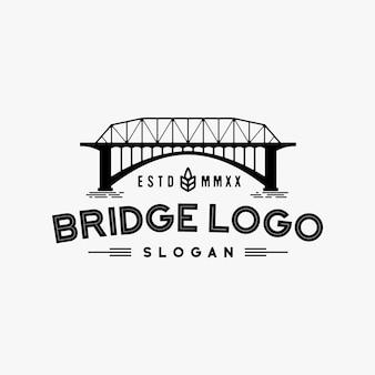 Inspiração de design de logotipo retrô ponte