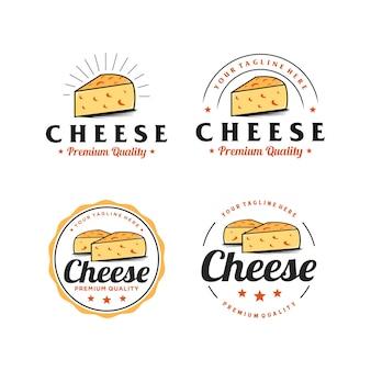 Inspiração de design de logotipo simples de distintivo de queijo