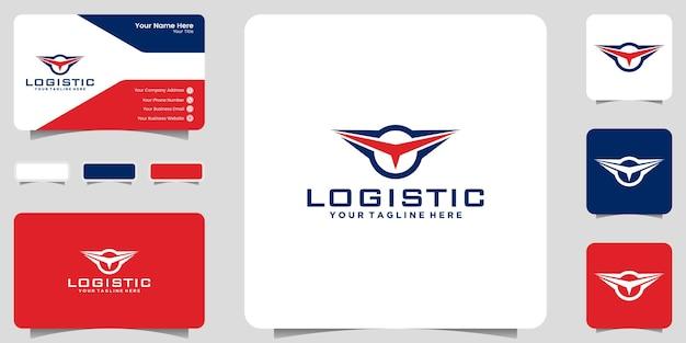 Inspiração de design de logotipo simples para logística, envio de mercadorias para distribuição
