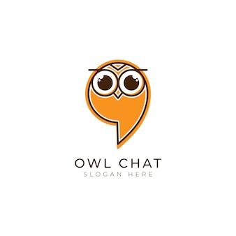 Inspiração de design de modelo de logotipo de chat de coruja