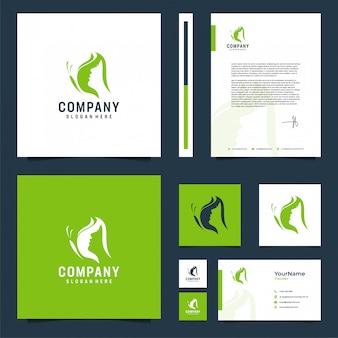 Inspiração de design de papelaria de marca borboleta e rosto