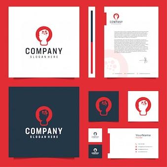 Inspiração de design de papelaria de marca cerebral