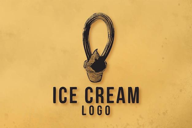 Inspiração de designs de logotipo de sorvete desenhado à mão