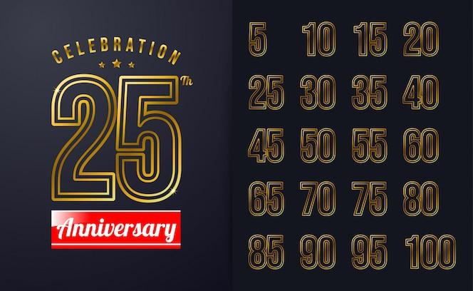 Inspiração de fundo 25º aniversário com design de emblema de celebração de cor de linha dourada