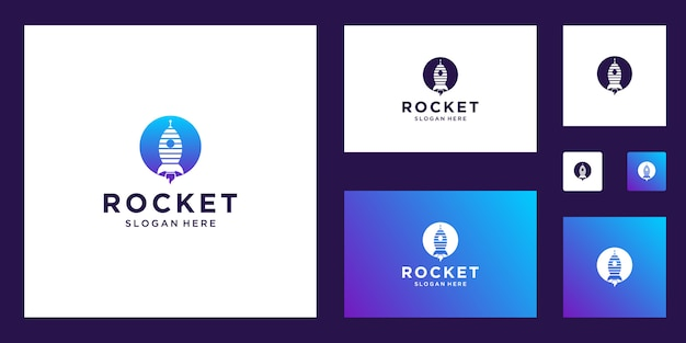 Inspiração de logotipo abstrato de marketing de foguetes