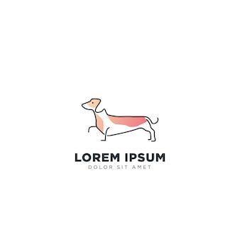 Inspiração de logotipo de cachorro dachshund com cor de ui