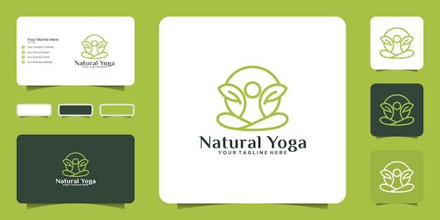 Inspiração de logotipo de design de ioga em estilo de linha simples e inspiração de cartão de visita