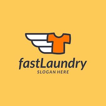 Inspiração de logotipo de entrega rápida de lavanderia criativa