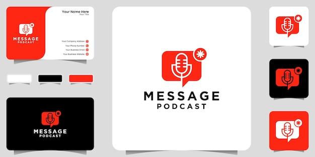 Inspiração de logotipo de mensagem de podcast, notificação, ícone e ícone de design de cartão de visita