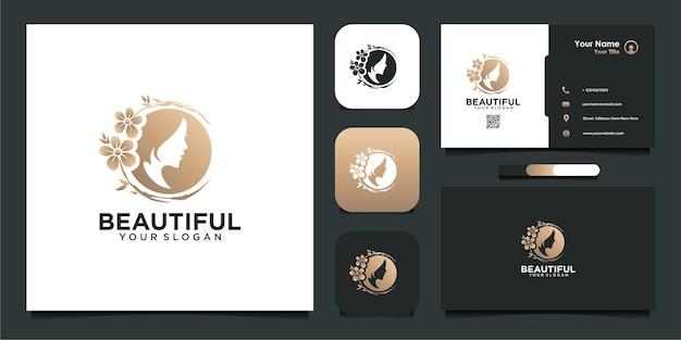 Inspiração de logotipo de mulher bonita com flores e cartão de visita