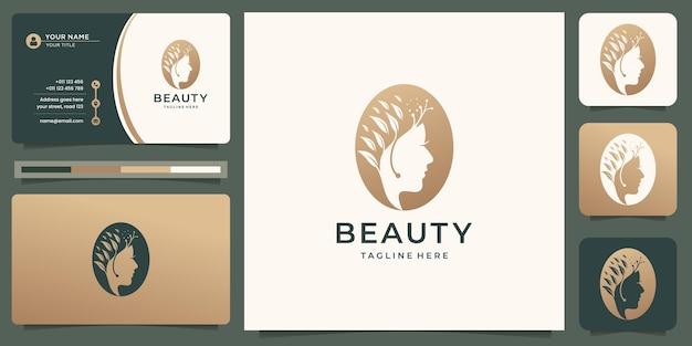 Inspiração de logotipo de mulher de beleza de luxo para cuidados com a pele, salão de beleza e spa. com modelo de cartão de visita.