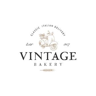 Inspiração de logotipo de padaria vintage com desenho de scooter clássico
