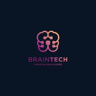 Inspiração de logotipo de tecnologia cerebral