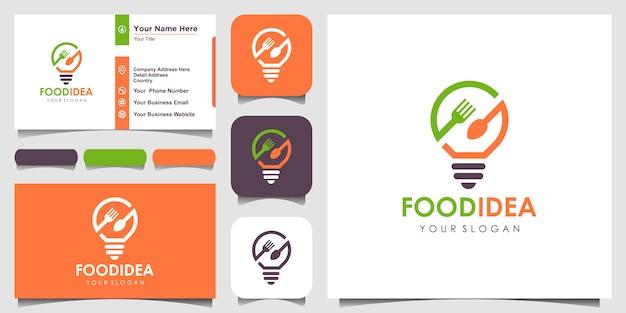 Inspiração de logotipo e cartão de visita do restaurante de café da manhã criativo bulb & fork