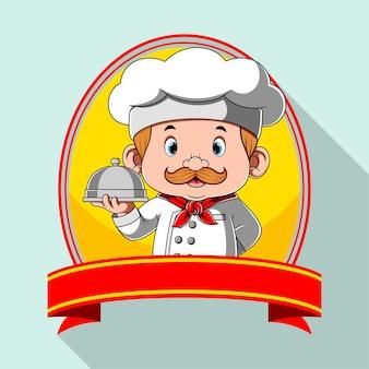 Inspiração de logotipo para restaurante com banner em branco