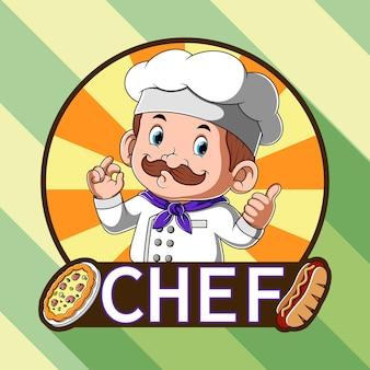 Inspiração de logotipo para restaurante de pizza e cachorro-quente com chef