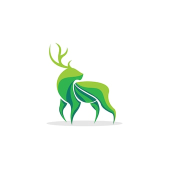 Inspiração de logotipo verde de veado
