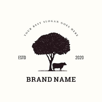 Inspiração de logotipo vintage de gado
