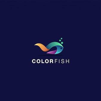 Inspiração de peixe cor logotipo incrível