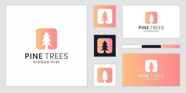 Inspiração de vetor de ícone de logotipo de pinheiro de espaço negativo criativo