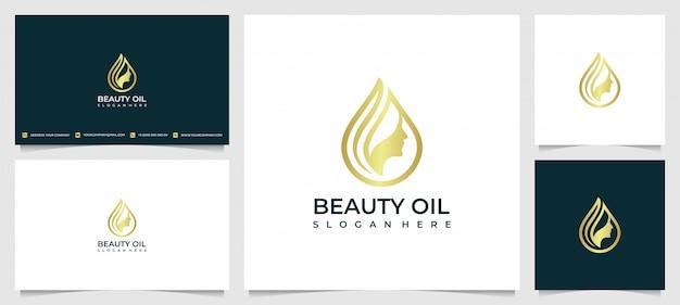 Inspiração do design de logotipo de mulheres de beleza para cuidados com a pele, salões de beleza e spa, com o conceito de gotas de água de óleo