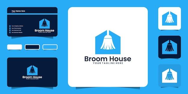 Inspiração do design do logotipo da casa da vassoura, casa limpa e inspiração do cartão de visita