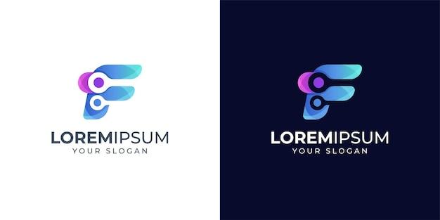 Inspiração do design do logotipo da letra f. logotipo da tecnologia