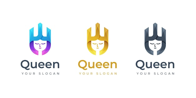Inspiração do design do logotipo da rainha. logotipo do monograma. logotipo da crown