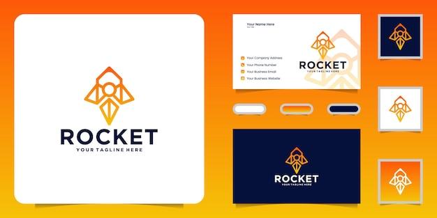 Inspiração do design do logotipo da rocket e cartões de visita