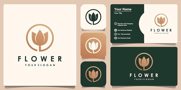 Inspiração do design do logotipo de lótus de flor dourada e design de cartão de visita